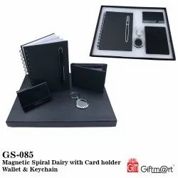 Magnetic Spiral Diary With Card Holder Wallet & Keychain