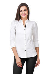 Women And Girls Cotton Fairiano Women Solid Formal White Shirt