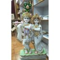 Marble Painted Radha Krishna Statue