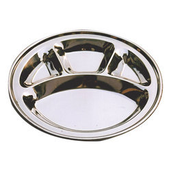 Stainless Steel Round Divided Dinner Plate 4 sections