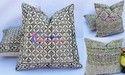 Hand Block Print Hand- Loom Rug Cushion Cover