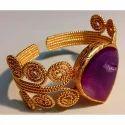 Handmade Druzy Gemstone Exclusive Brass Gold Plated Bangle