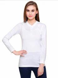 Full Sleeve Pintapple Womens Cotton Henley White Top