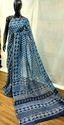 Blue And White Indigo Printed Silk Cotton Saree, 5.5 M (separate Blouse Piece)