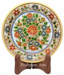 Round Traditional Marble Plate 6 Inch For Decoration