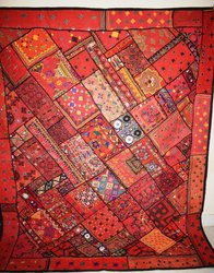 Vintage Embroidery Handmade Patchwork Bed Cover Throw
