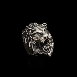 Sterling Silver Lion King Face Ring Plain 925