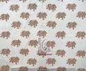 Brown Elephant Animal Hand Block Cotton Fabric