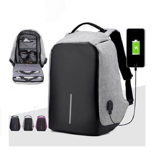 555683966cf1 GREY Nylon Anti Theft Business Laptop Backpack With Power Bank USB Port
