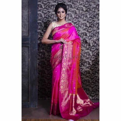 012b6b5e99 Pure Handloom Katan Silk Banarasi Saree in Pink and Purple at Rs ...