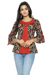 Yash Gallery Women's Cotton Cambric Kalamkari Printed Top