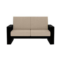 Cream And Black Modern Two Seater Wooden Sofa, for Home