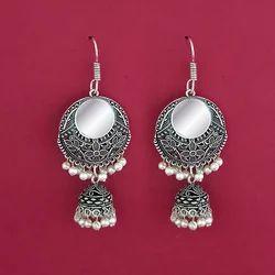 Silver Alloy Mirror Earrings