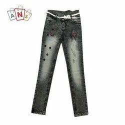 Casual Wear Black Blue Hard Ice Grey Kids Stretchable Jeans