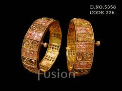 A.D Stones Studded Antique Bangles