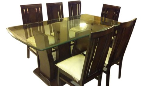 Brown Table 72 X 36 30 Six Seater Dining Set With Glass Top
