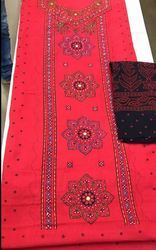Traditional Cotton Top Print Suit With Handwork