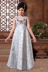 Mashroom Silk Wedding & Casual Wear Kids Exclusive Gown
