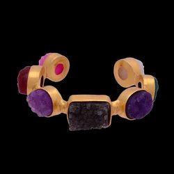 Multi Druzy Gemstone Gold Plated Wedding Cuff Bracelet