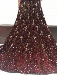 Velvet Lehenga With Machine Diamond Work With Net Dupatta