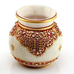 Marble Gold Embossed Round Pot
