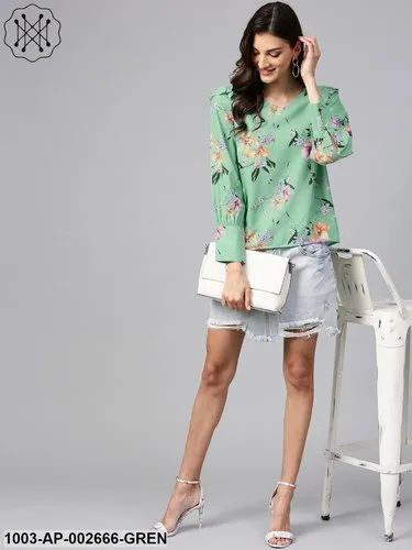 Polyester Printed Floral Print Top with Shoulder Ruffles