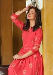 Shruti Vol-1 Festival For Gold Printed Gown Type Rayon Long Kurtis