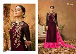 Roma Full Sleeve Embroiderd Long Kurti, Size: M - XL