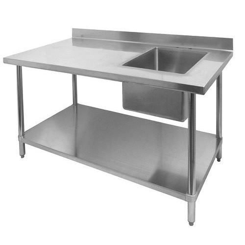Stainless Steel Single Kitchen Sink Work Table, Shape ...