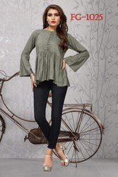 Ladies Fancy Cotton Top With Jeans