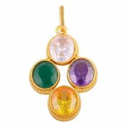 Four Stone Pearl, Yellow Sapphire, Neelam, Manik, Panna, Coral, Brass Pendant
