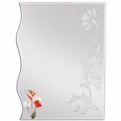 Silver Diamond Designer Glass Mirror