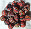 Larg Striped  Murano Frosted Glass Beads
