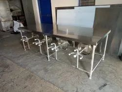 Steel & Mild Steel Dev Kitchens Canteen Table with Foldable Stools ( four Seater ), Size: 1150x800x780 Mm