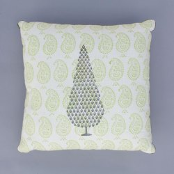 Lime Hand Block Print Cushion Cover