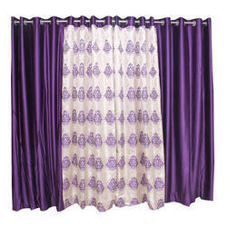 Purple and Cream Silk Designer Window Curtains