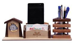 Noble Brown Wooden Pen Stand, For Office