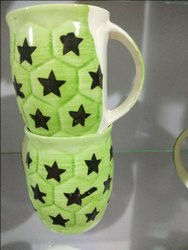Green Ceramic Tea Cups, For Home, Capacity: 250 Ml