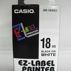 Casio XR-18WE1 Label Printer Tape (Black and White)