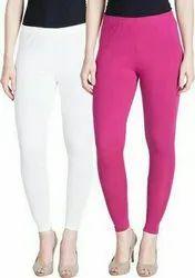 Pink Mid Waist Lux Lyra Plain Cotton Leggings, Slim Fit, Casual Wear