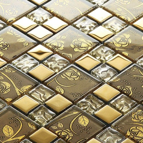 Ganesh Glass Mosaic Type Gold Plated Glass, Finish Type: Printed