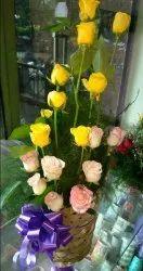 Yellow Rose Flowers Basket