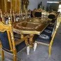 Royal Wooden 10 Seater Carved Dining Table Set