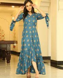 Cotton Blue Printed A Line Dress