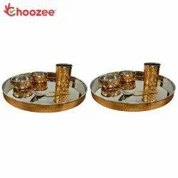 Choozee - Copper Thali Set Set of 2 (10 Pcs) of Thali, Bowl, Spoon & Glass