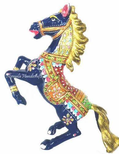 Muilty Colour Antique Metal Meenakari Horse Statue Enamel Work Figurine, For Interior Decor