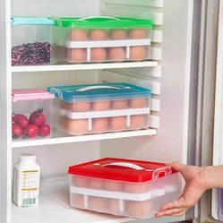 Pink/white Double Layer 24 Eggs Storage Box-White/Pink Storage Basket, Capacity: 24