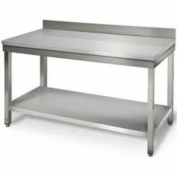 Stainless Steel Rectangular Work Table With Bottom Shelf, Warranty: 1 Year