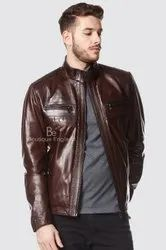 Men Casual Wear Calvin Brown Leather Jacket, Size: Large