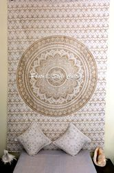 Gold Ombre Twin Mandala Tapestry
